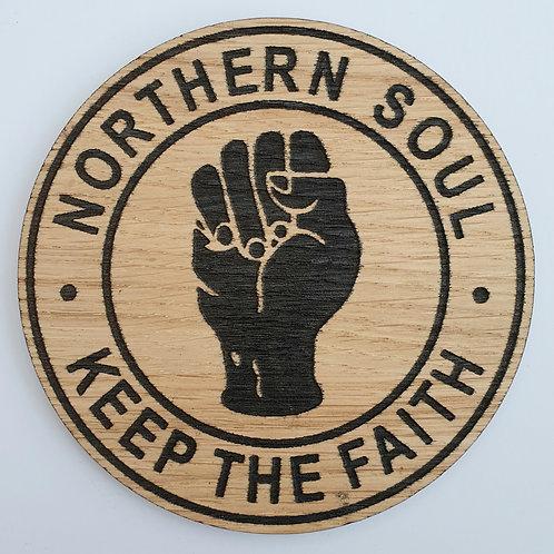 Northern Soul KTF Round Wooden Coaster