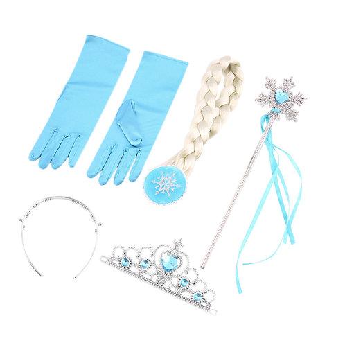 Набор: коса Эльзы, перчатки, корона и палочка
