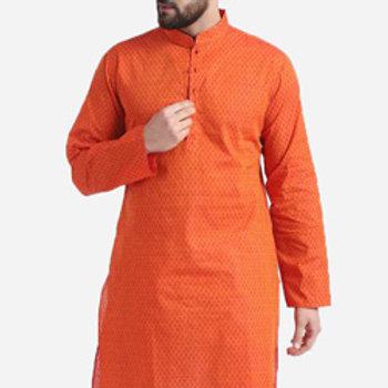 Men Self Design Cotton Straight Kurta