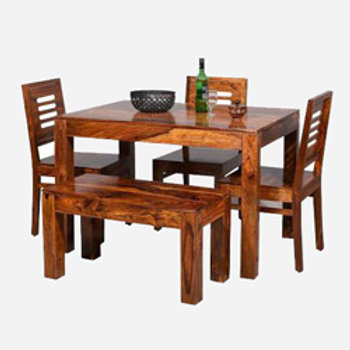 Kendalwood Furniture 3 Chair 1 Bench Dining Table Solid Wood 4 Seater Dining Set