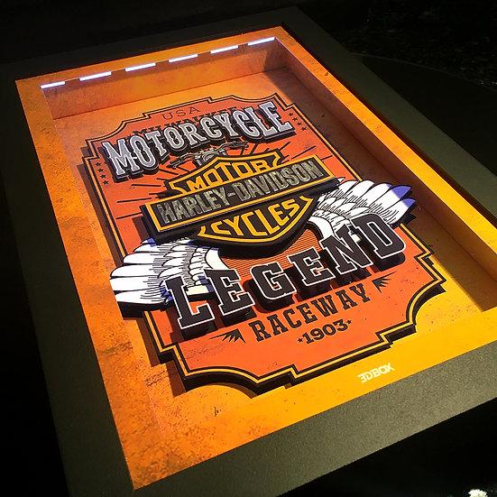 3DBox Harley Davidson 45x33 c/LED