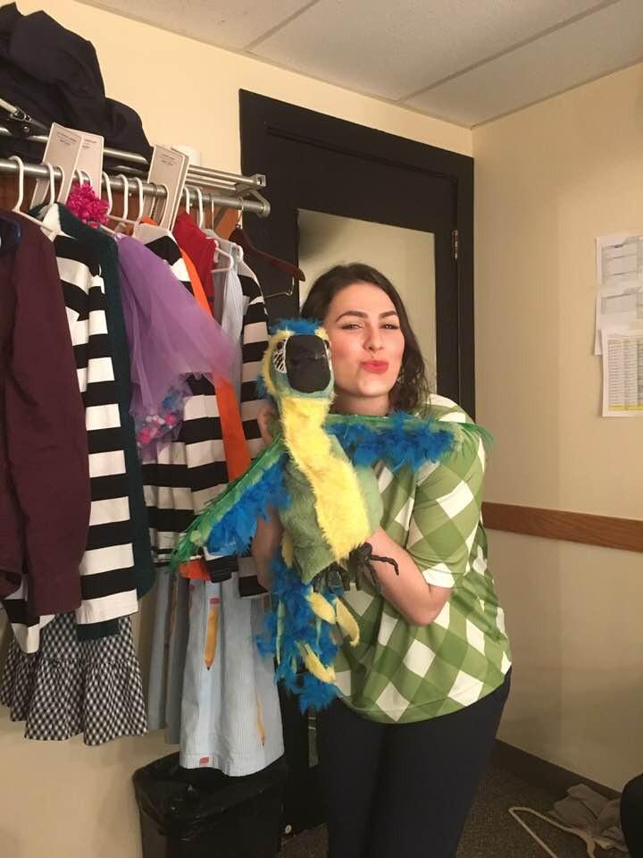 Parrot puppet from Junie B. Jones is Not a Crook