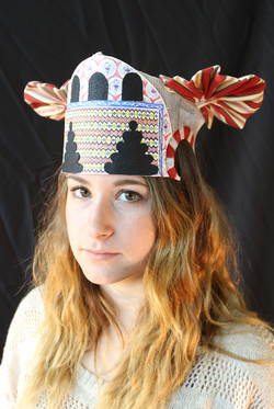 Hat 4[sinamay, fabric, paper, paint]