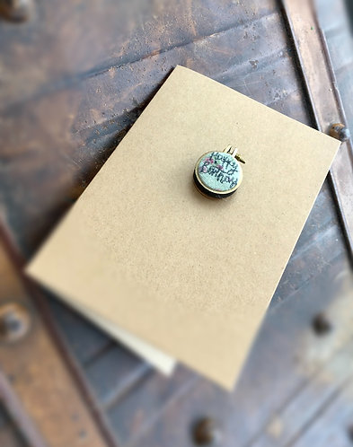 Handmade Happy Birthday Decorative Mini Hoop Freehand Embroidery Card