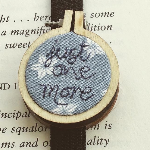 Just One More...Freehand Embroidered Mini Hoop Bookmark