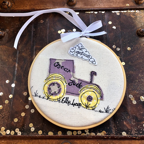 Tractor New Baby Welcome Nursery Decor Freehand Embroidery Decorative Hoop