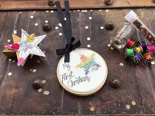 """My/Our First Christmas Rainbow Star 3"""" Embroidery Hoop"""