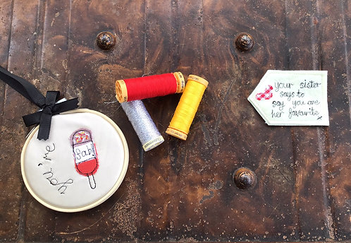 """You're Fab 3"""" Free Motion Hoop Decoration with personalised label"""