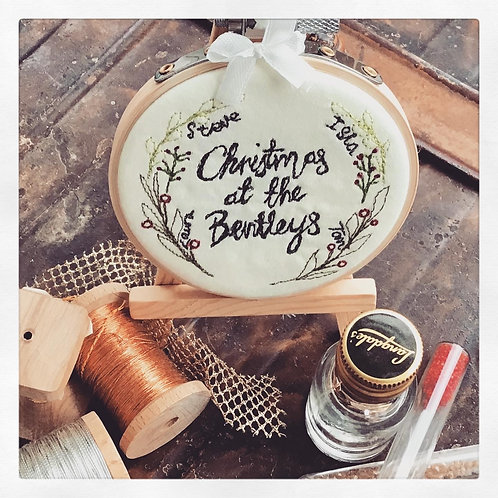 Personalised Christmas Wreath Decorative Freehand Embroidery Hoop