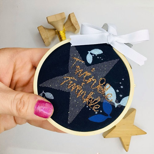 """Twinkle Twinkle Freehand Embroidered 3"""" Decorative Hoop"""