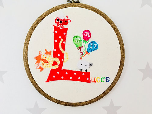 New Baby Welcome to the World Name Initial Applique Embroidery Hoop