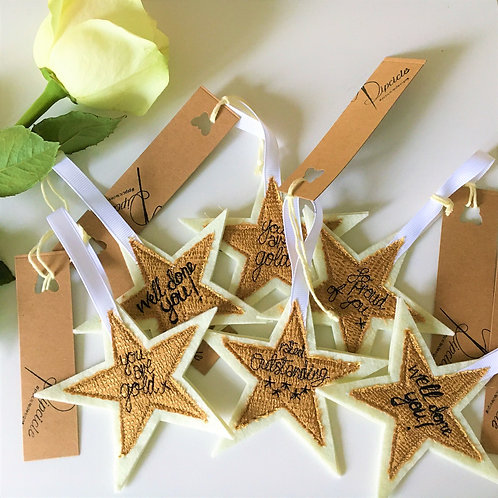 Golden Star Personalised Freehand Machine Embroidered Hanging Decoration