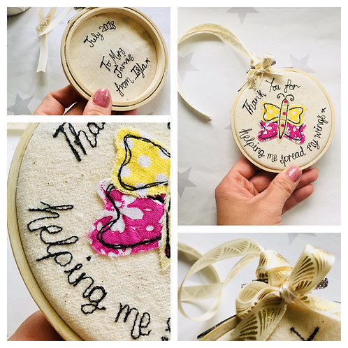 Thank You for helping me spread my wings Free-motion Butterfly Embroidery Hoop