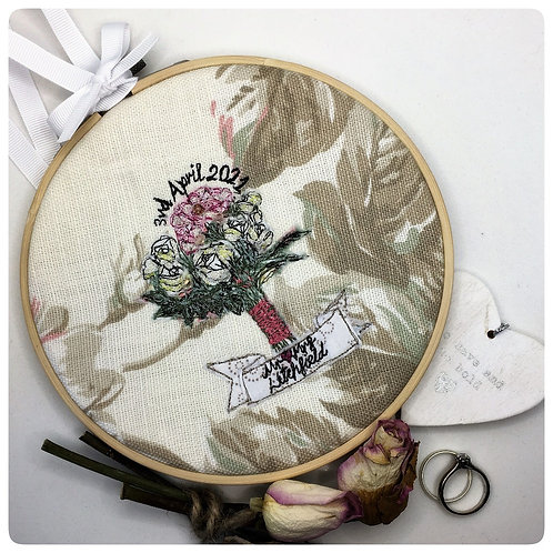 Personalised Wedding Bouquet Freehand Embroidery Hoop