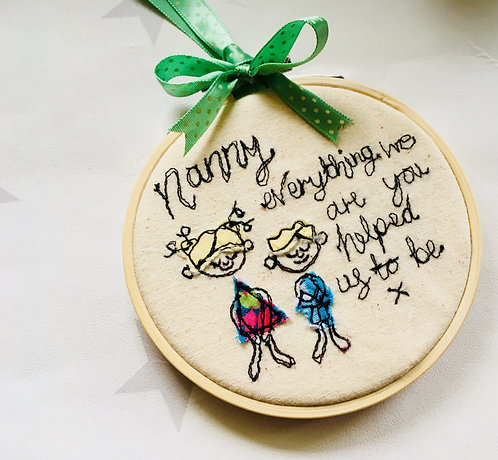 Nanny Quote Personalised Free-motion Embroidery Hoop