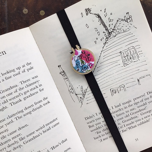 Can't put it down...Freehand Embroidered Mini Hoop Bookmark
