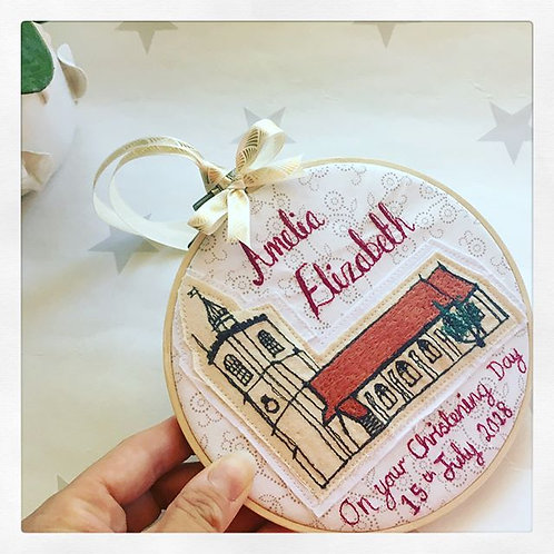 Venue Stitched Picture Christening/Wedding Hoop