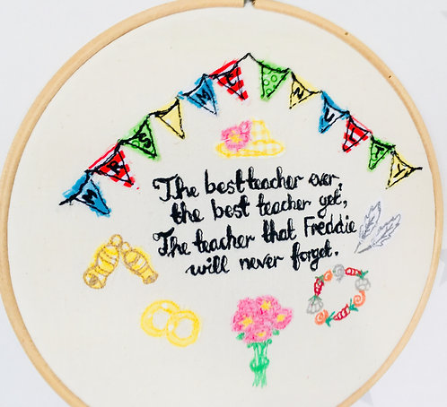 Bespoke Custom Design Freehand Embroidery Hoop