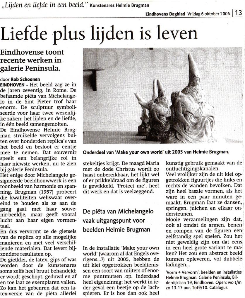 review: Liefde plus lijden is leven, text Rob Schoonen  Daily newspaper Eindhovens Dagblad 6-10-2006