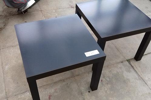 91. Pair of Brown / Black Coffee Tables. 55cm x 55cm. As new