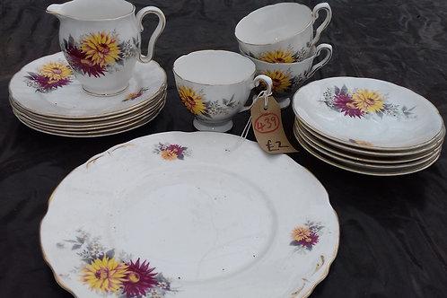 """439. Partial Tea Set. Royal Stafford """"Dahlia"""""""