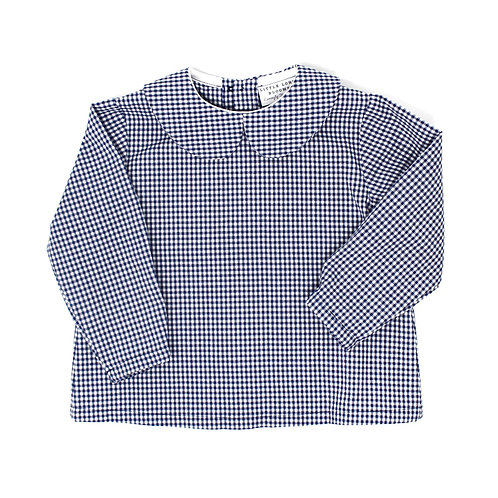 HUNTER Navy and White Checked Long Sleeved Button Back Shirt
