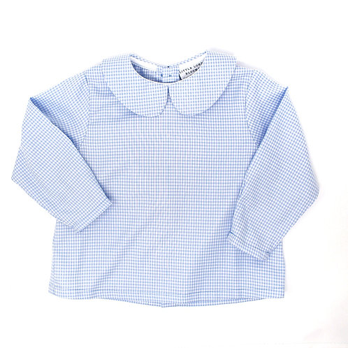 HUNTER Light Blue and White Checked Long Sleeved Button Back Shirt