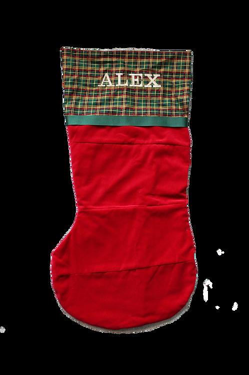 Banded Midi Stocking (Claret with Tartan)