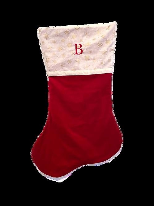 Large Velvet Stocking (Claret with Gold Snowflake Stars)