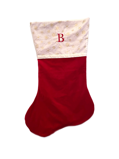 Large Velvet Stocking (Claret with Gold Snowflake Stars)