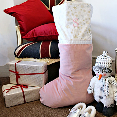 Large Velvet Stocking (Dusty Pink with Gold & Silver Snowflakes)