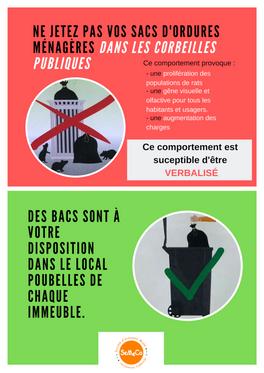 Ne jetez pas vos sacs d'ordures ménagères dans les corbeilles publiques !