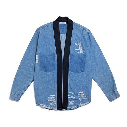 Oversize Distressed Denim Kimono