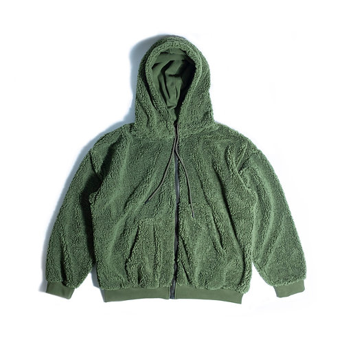 Oversize Full Zip Khaki Hoodie