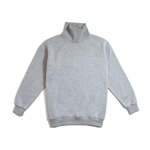 Oversize Long Neck Gray Sweatshirt