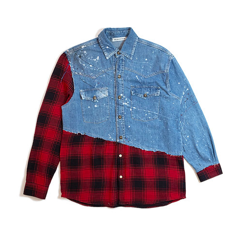 Cut&Sew Distressed Denim Shirt V2