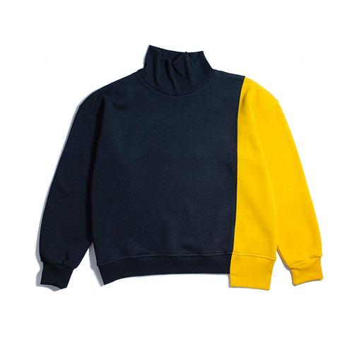 Oversize Long Neck Black Cut&Sew Sweatshirt