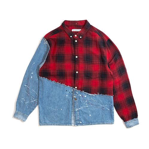 Cut&Sew Distressed Denim Shirt