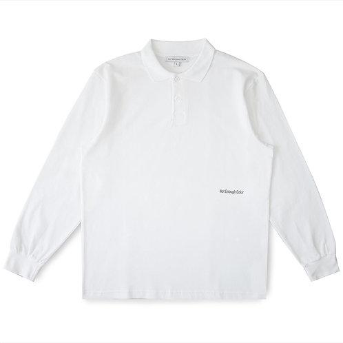 Beyaz Polo Yaka Uzun Kollu Tshirt