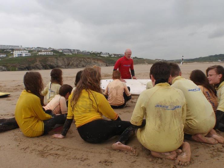 Kids group lesson at Godrevy