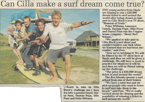 Newspaper article - Pete, Laurence and friends participated in 'Moment of Truth' Gameshow
