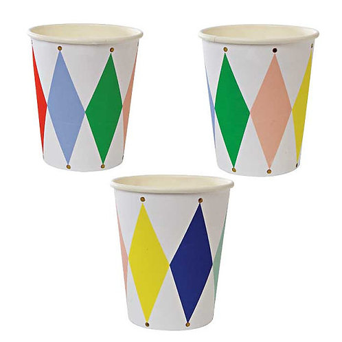 TOOT SWEET HARLEQUIN PARTY CUPS ( 8 )