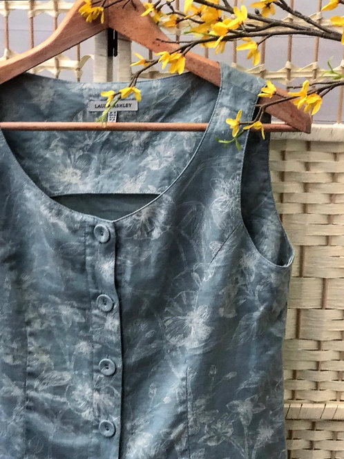Vintage Laura Ashley Linen Waist Coat • UK 10 • Floral • Blue • Top