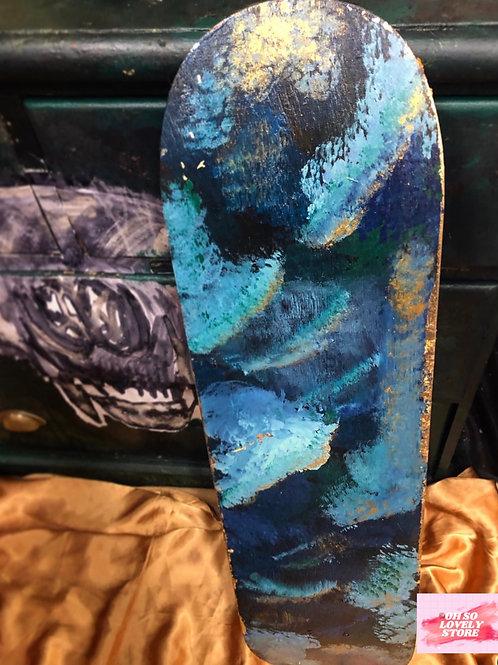 Hand Painted Skateboard Deck / Wall Art / Blue Galaxy
