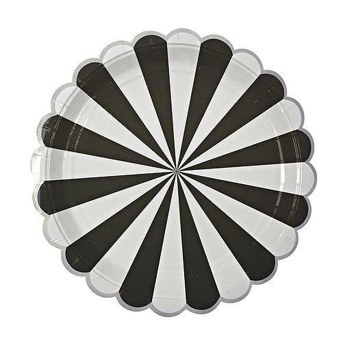 TOOT SWEET BLACK STRIPE LARGE PLATES ( 8 )