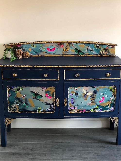 Beautifully Restored Vintage Sideboard In Hornblower Blue With Butterfly Design
