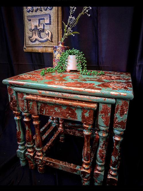 Antiqued Patina Effect Vintage Nest Of Tables