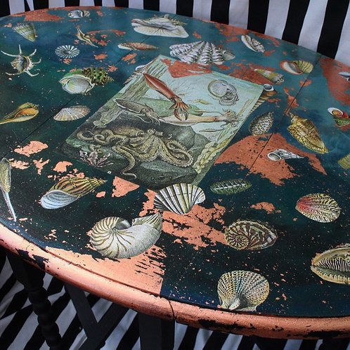 Wonderfully Restored  hand painted costal themed copper folding drop leaf table