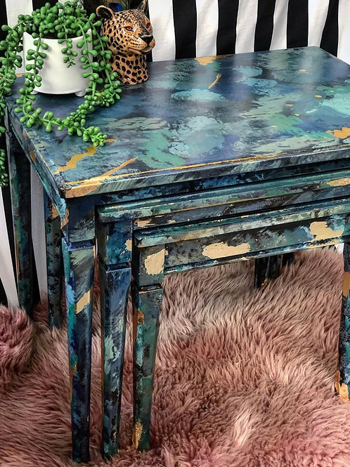 Beautifully restored nest of tables green and gilded gold leaf