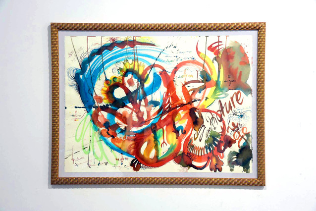 """""""PICTURE THE C/AGE"""" liquide watercolor on paper 76/56 cm; drawing made using right hand possible to be view all sides"""